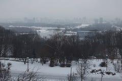 横向好冬天 早晨在城市 儿童` s操场在公园 大厦在雾掩藏在的左岸 库存照片
