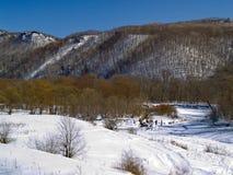 横向山冬天木头 免版税库存图片