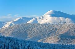 横向山多雪的日出 免版税库存照片