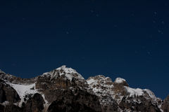 横向山晚上 图库摄影