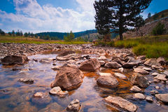 横向山河岩石夏天 免版税库存图片