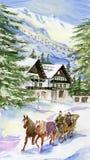 横向山滑雪村庄冬天 免版税库存图片