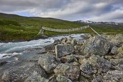 横向山美丽如画的挪威 尤通黑门山脉 免版税图库摄影