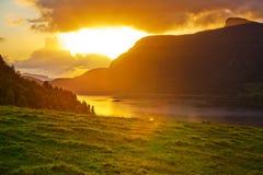 横向挪威日落 库存图片