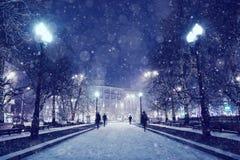 横向晚上人街道走的冬天 免版税库存照片