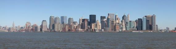 横向曼哈顿全景地平线 免版税库存照片