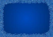 横向格式A4蓝色无缝的矢量框架从珊瑚、海壳和螃蟹的概述图象的 库存照片