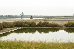 横向池塘盐视图 图库摄影