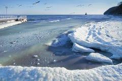 横向海运冬天 免版税库存照片