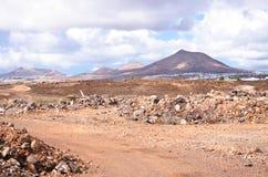 横向火山的lanzarote 图库摄影