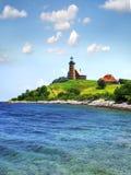 横向灯塔美丽如画的海运 库存照片