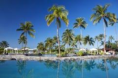 横向热带手段的温泉 免版税库存照片