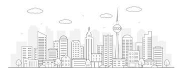 横向现代都市 与房子门面和其他都市细节的城市生活例证 库存例证