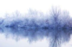 横向白色冬天 库存图片