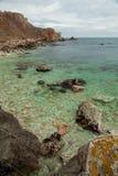 横向石海岸kamen briag保加利亚 库存照片