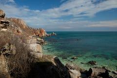 横向石海岸kamen briag保加利亚 免版税库存照片
