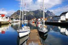 横向美丽如画的挪威 库存照片