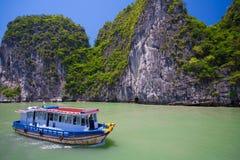 横向美丽如画的海运 海湾ha长越南 库存照片