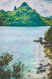 横向美丽如画的海运 蛇海岛 美岸海岛 El Nido,菲律宾 免版税图库摄影