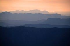 横向蒙特塞拉特岛日落 库存照片