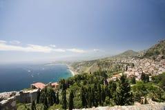 横向西西里岛taormina视图 免版税库存照片