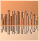 横向都市反映的摩天大楼 向量例证