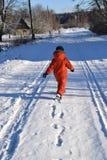 横向雪多雪的故事结构树冬天 免版税库存图片