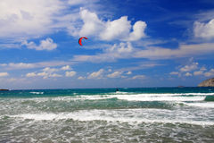 横向风帆冲浪prasonisi的手段 图库摄影