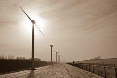 横向风景乌贼属多雪的风车 免版税库存照片