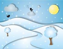 横向风格化冬天 库存图片