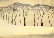 横向黑白照片冬天 在安静的湖的光秃的树 免版税库存照片