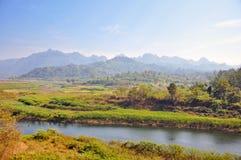 横向ranti河sangkhaburi 图库摄影