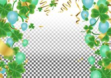 横幅与绿色四和在闪耀的深绿三叶草shamro 皇族释放例证