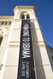 横幅中心诺贝尔国王obama和平 免版税图库摄影