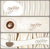 横幅主题的咖啡具 免版税库存图片