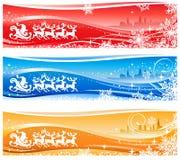 横幅克劳斯・圣诞老人雪橇 免版税图库摄影