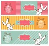 横幅兔宝宝复活节彩蛋集合部族 库存图片