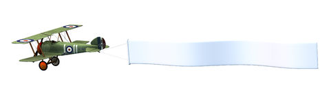 横幅双翼飞机空白剪报包括路径 免版税库存照片