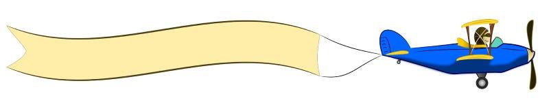 横幅双翼飞机空白动画片 皇族释放例证