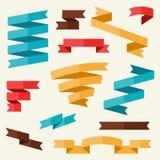横幅和丝带在平的设计样式 库存例证