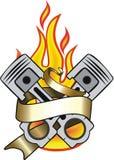横幅和火焰 免版税图库摄影