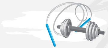 横幅哑铃跳绳体育运动 向量例证