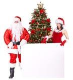 横幅圣诞节克劳斯女孩圣诞老人结构& 库存照片