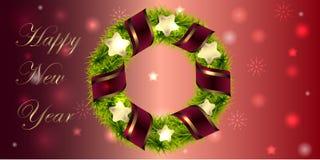 横幅圣诞节和新年与花圈和丝带 库存照片