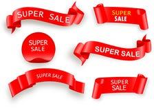 横幅大销售额 超级销售横幅丝带 也corel凹道例证向量 向量例证