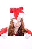 横幅女性圣诞老人 免版税图库摄影
