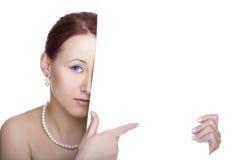 横幅妇女年轻人 免版税库存照片