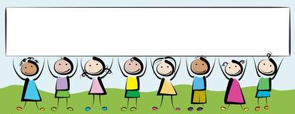 横幅孩子 免版税库存照片