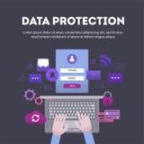 横幅平与stipplism数据保护的作用 免版税库存图片