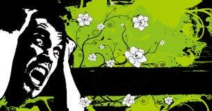 横幅恐惧花卉grunge 免版税库存图片